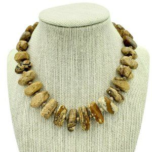 Kenneth Jay Lane Necklace Brown Tan Natural Stone